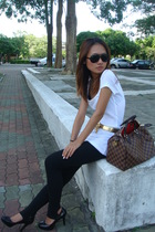 black leggings leggings - black platforms Miss shoes - white top NET top