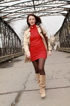 red Zara sweater - cream Zara boots - Mango jacket - maroon Musette bag