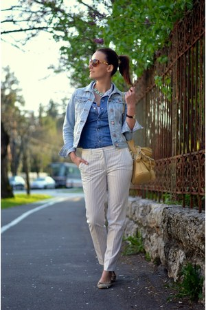 blue Pepe Jeans shirt - light yellow Furla bag - white Zara pants
