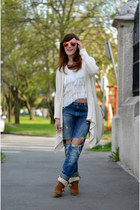 blue Zara jeans - brown Bershka boots - cream Zara cardigan - off white Zara top