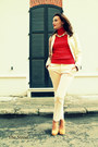 Cream-burberry-jacket-red-zara-sweater-cream-zara-pants