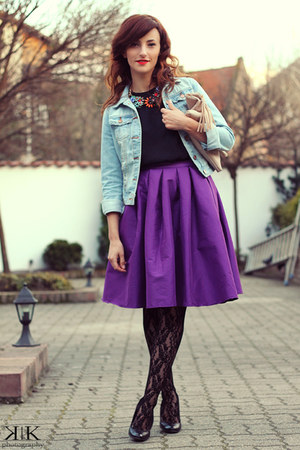 eggshell Accessorize purse - purple Sheinsidecom skirt - black Zara blouse