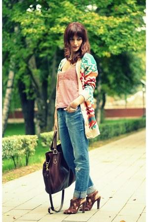Zara jeans - Musette bag - Manolo Blahnik sandals - Burberry top