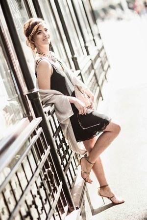 black Zara dress - tan Zara cardigan