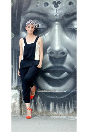 black Zara romper - carrot orange Zara heels