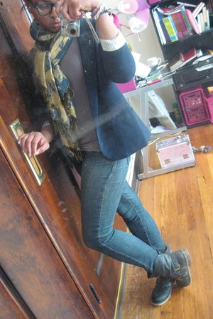 gold Forever 21 scarf - dark gray Rebels boots - navy Blue Asphalt jeans