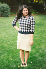 Checkered-forever-21-sweater-buttton-up-thrifted-shirt-lace-vintage-skirt