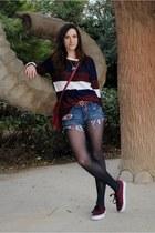 crimson Forever 21 sweater - navy Zara shorts - crimson Vans sneakers