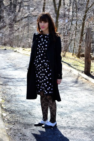 black Kimchi Blue shoes - black dress - black coat - black tights