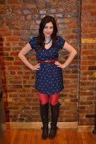 red H&M tights - dark brown Candies boots - navy Kimchi Blue dress