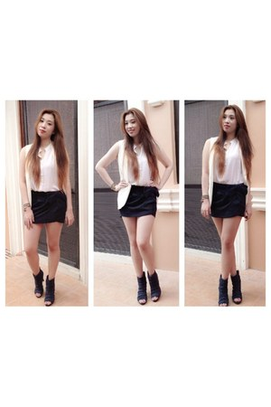 white jb vest - navy Payless boots - white cotton on blouse - navy Zara skirt