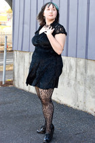 lace deb cardigan - crushed velvet dress - Steve Madden tights