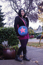 teal diy star bag - black lace-up boots - purple cotton foot traffic tights
