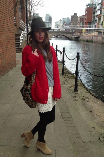 red Zara cardigan - bronze Aldo boots - army green Topshop hat - Aldo bag