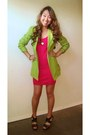 Hot-pink-h-m-dress-chartreuse-vintage-blazer-bronze-for-love-necklace