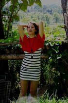 red homemade shirt - white H&M dress - black vintage necklace
