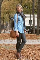 blue Autre ton blouse - Jonak boots - sud express bag