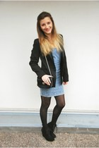 Zara boots - asos dress - Zara blazer - Zara purse