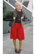 red vintage skirt - mustard modcloth tights - brown BB Dakota vest - brown miz m