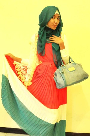 cream dress - salmon dress - teal Mango bag - tie