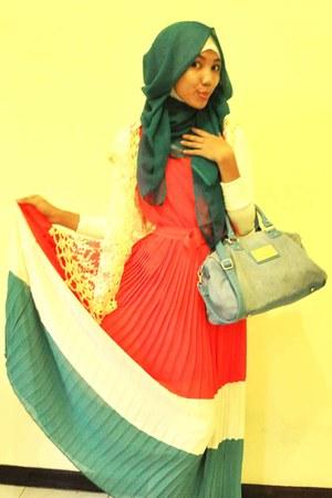 cream dress - salmon dress - teal Mango bag - tie