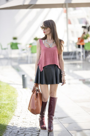 crimson leather Zara boots - burnt orange leather Zara bag