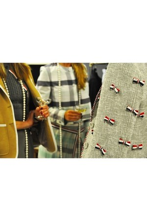 tweed and bows Thom Browne jacket