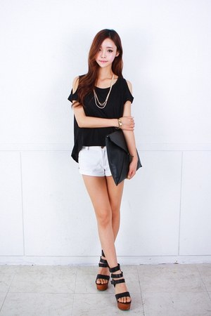 black blouse - white shorts