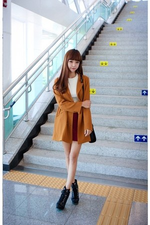 bronze jacket - black boots - white shirt - tawny skirt