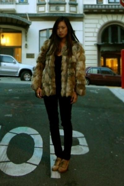 vintage jacket - Arden B top - angels pants - Chloe shoes