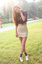 blue Forever 21 top - beige Scalloped skirt - beige Jeffrey Campbell shoes