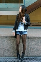 black jacket - gray cardigan hollister jacket - black Steve Madden boots