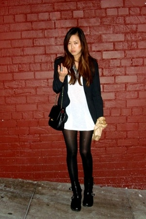 Max Mara blazer - from LA t-shirt - Forever21 tights - Dirty Laundry boots - Cha