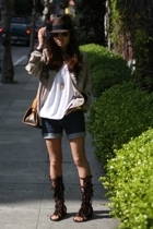 vintage jacket - windsor top - levis shorts - wild diva sandals