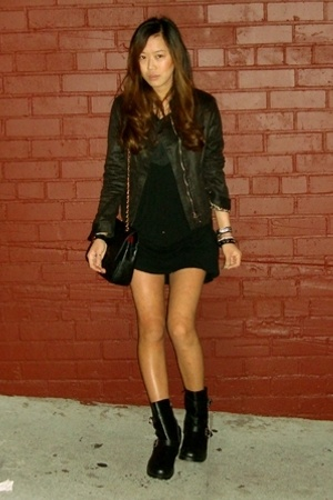 vintage jacket - Lux dress - Dirty Laundry boots - Chanel purse