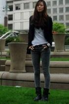 moms jacket - no name t-shirt - vanilla star jeans - Dirty Laundry boots - Chane