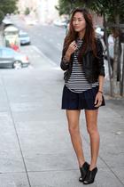 black jacket - gray shirt - blue skirt