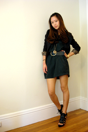 vintage jacket - forever 21 dress - Bebe shoes - H&M necklace - H&M belt
