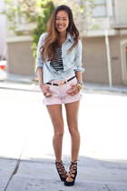 sky blue denim banana republic shirt - pink pink banana republic shorts