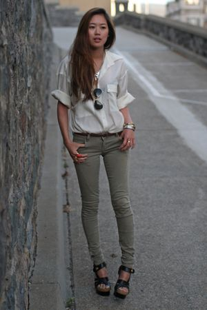 black balenciaga shoes - white sheer blouse thrifted shirt - green Zara pants
