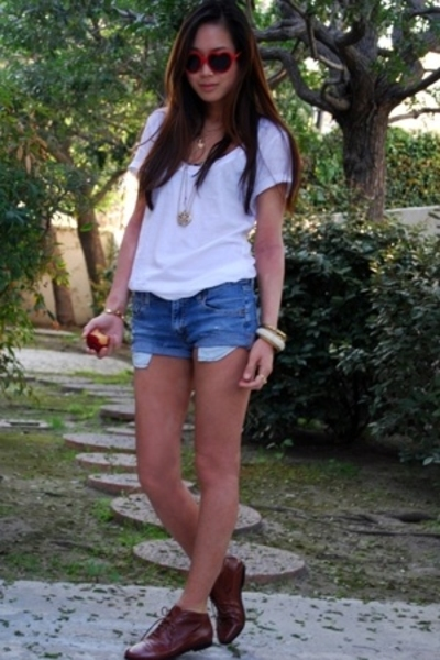 white t-shirt - brown oxfords Jeffrey Campbell shoes - blue Levis shorts