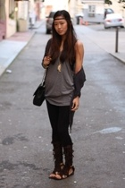 cardigan - forever 21 top - wet seal leggings - fringe sandals
