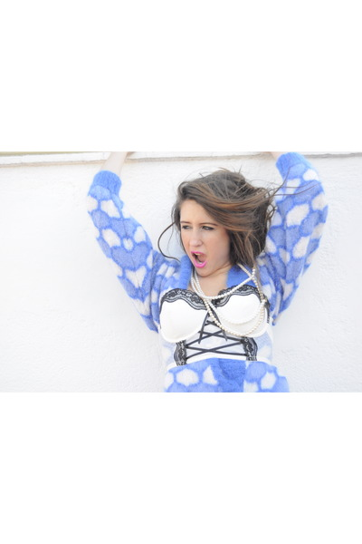 sky blue cardigan - white bra accessories
