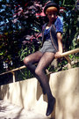 Black-zara-shoes-black-f21-hat-blue-1-thrifted-shirt-black-gift-tights-c