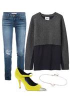 J Brand jeans - acne sweater - asos pumps - Gorjana bracelet