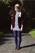 navy boatneck stripe American Apparel dress - maroon velvet thrift blazer - blue