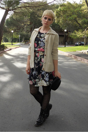 black etsy Durango boots - navy floral thrifted dress - black thrifted SCALA hat