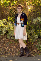 dark brown cowboy thrift boots - white lace thrift dress - burnt orange braided