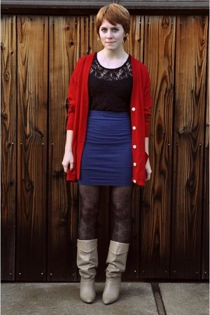ruby red thrift cardigan - navy thrift skirt - tan thrift boots - black nicole m