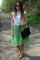 black satchel Matalan bag - white lace detail Primark top - chartreuse midi vint